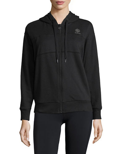 Reebok Full-Zip Cotton Hoodie-BLACK-Medium