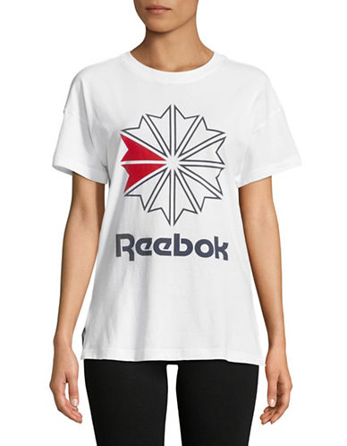 Reebok Logo-Print Cotton Tee-WHITE-Small