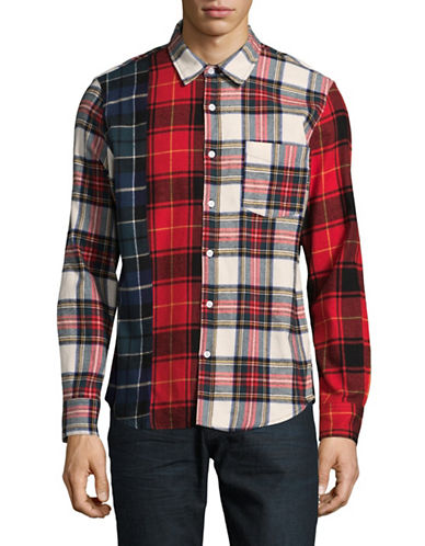 Stussy Mixed Plaid Sport Shirt-BROWN-Large