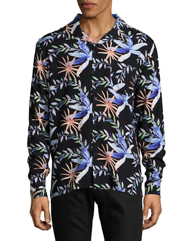 Stussy Floral Sport Shirt-BLACK-Small