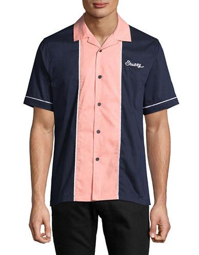 Stussy Middle Block Bowling Shirt-NAVY-Large