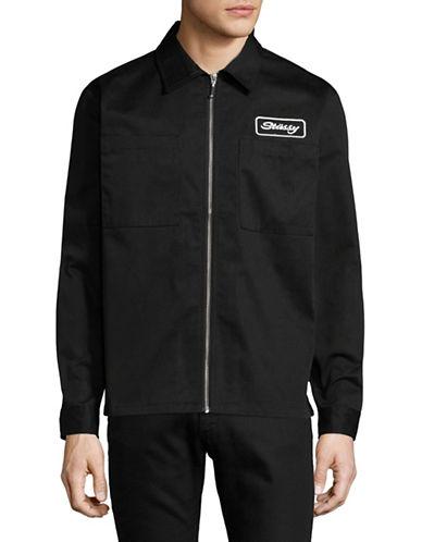 Stussy Full Zip Work Shirt-BLACK-Large