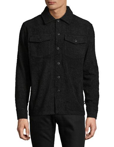 Stussy Long Terry Cotton Sportshirt-BLACK-Small