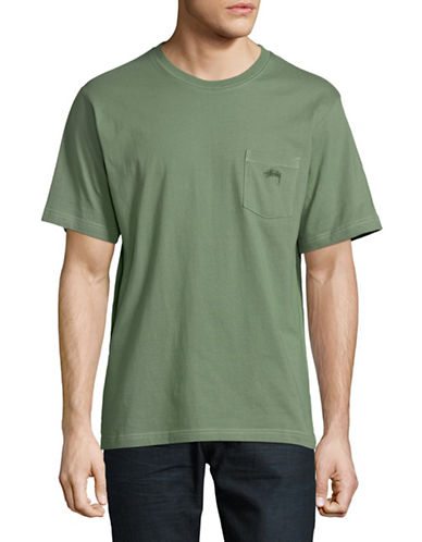 Stussy Overdyed Cotton Pocket Tee-GREEN-Medium