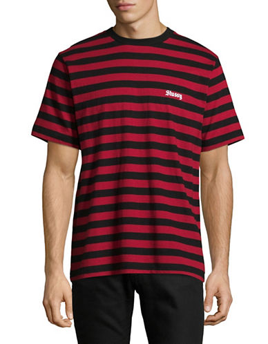 Stussy Baron Stripe T-Shirt-RED-X-Large 89299328_RED_X-Large