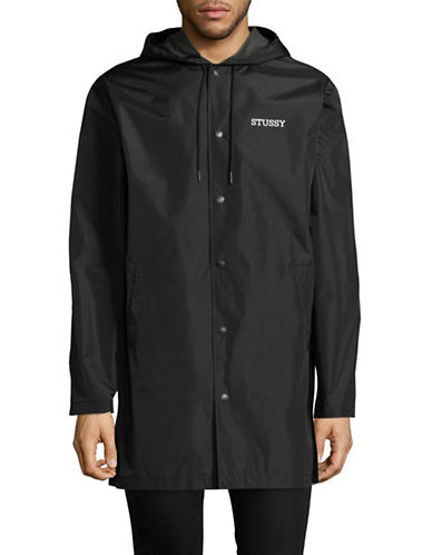 Stussy Longline Hooded Coach Jacket-BLACK-Small
