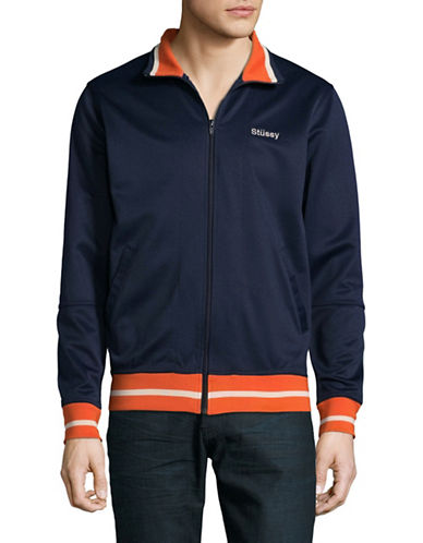 Stussy Stripe Trim Track Jacket-NAVY-Medium