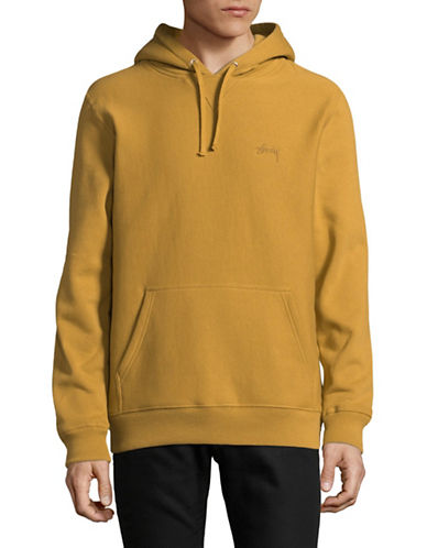 Stussy Stock Logo Cotton Hoodie-ORANGE-Small