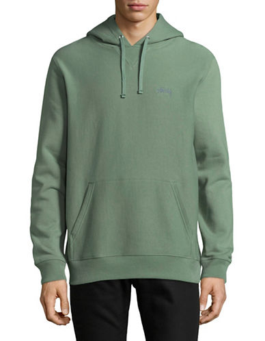 Stussy Stock Logo Cotton Hoodie-GREEN-Medium