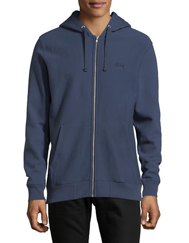 Stussy Stock Logo Zip Cotton Hoodie-BLUE-Medium