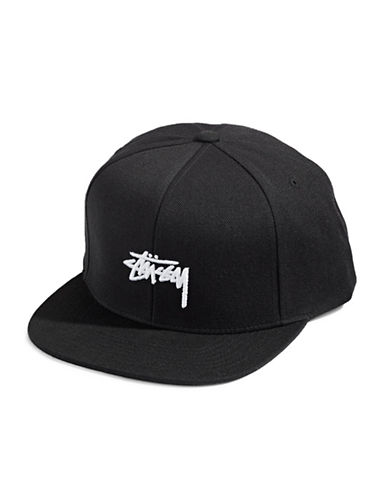Stussy Stock Wool-Blend Snapback Cap-BLACK-One Size