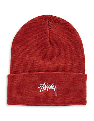 Stussy Logo Cuff Beanie-RED-One Size