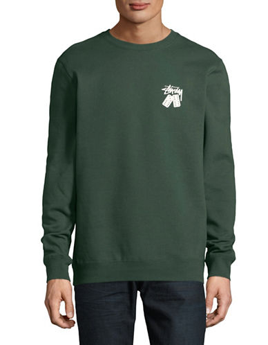 Stussy Dominos Crew Sweater-GREEN-Medium