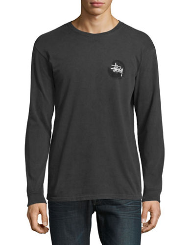 Stussy Graphic Print Long Sleeve T-Shirt-BLACK-Medium