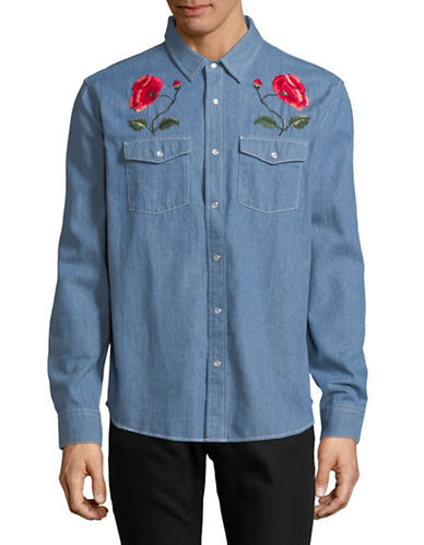 Stussy Poppy Denim Sport Shirt-BLUE-Small