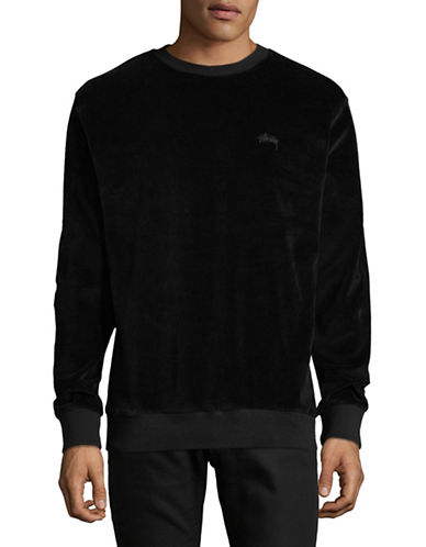 Stussy Crew Neck Velour Pullover-BLACK-Large