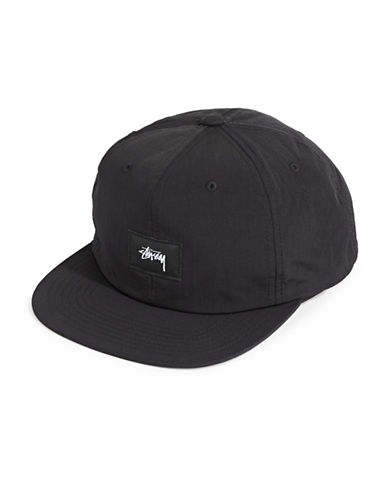 Stussy Stock Label Strapback Cotton Cap-BLACK-One Size