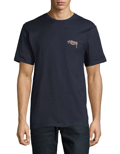 Stussy Ink Dot Cotton Tee-BLUE-Medium