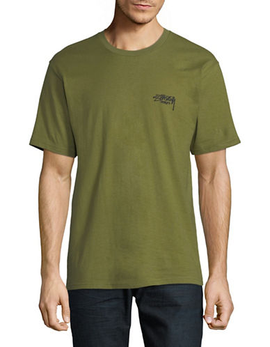 Stussy Ink Dot Cotton Tee-GREEN-X-Large
