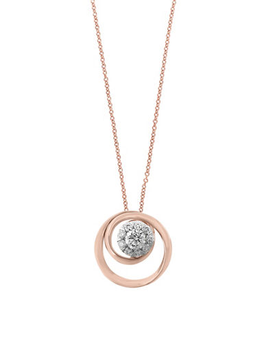Effy 0.24 TCW Diamond and 14K Rose Gold Pendant Twirl Necklace-ROSE GOLD-One Size