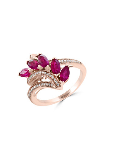 Effy Natural Ruby and 0.14 TCW Diamonds 14K Rose Gold Ring-RUBY-7