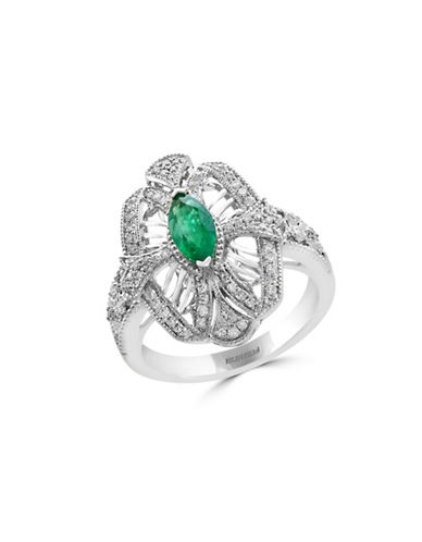 Effy 0.28 TCW Diamond, Natural Emerald and 14K White Gold Ring-EMERALD-7