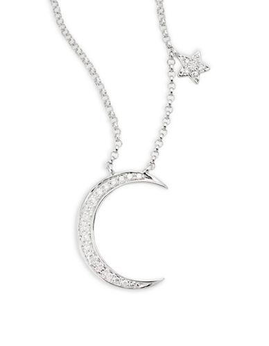 Effy 14K White Gold 0.09TCW Diamond Moon and Star Necklace-DIAMOND-One Size