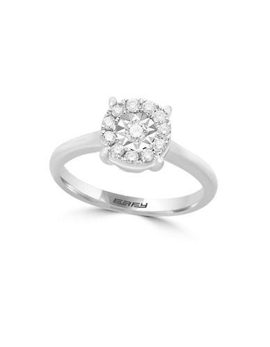 Effy 0.26 TCW Diamond, 14K White Gold Halo Ring-WHITE GOLD-7