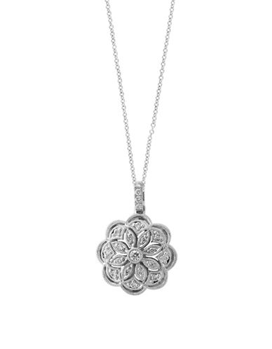 Effy 0.16 TCW Diamond and 14K White Gold Floral Pendant Necklace-WHITE GOLD-One Size