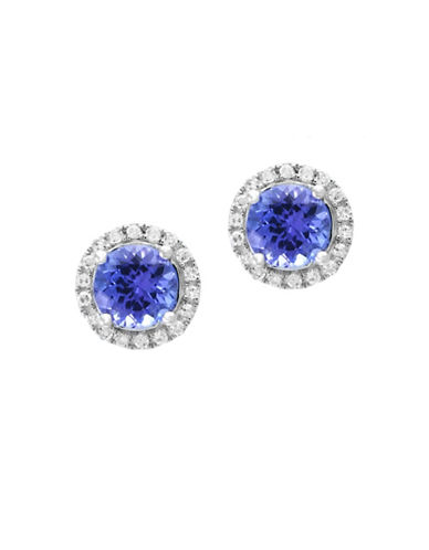 Effy 14K White Gold and Tanzanite Stud Earrings with 0.18 TCW Diamonds-BLUE-One Size