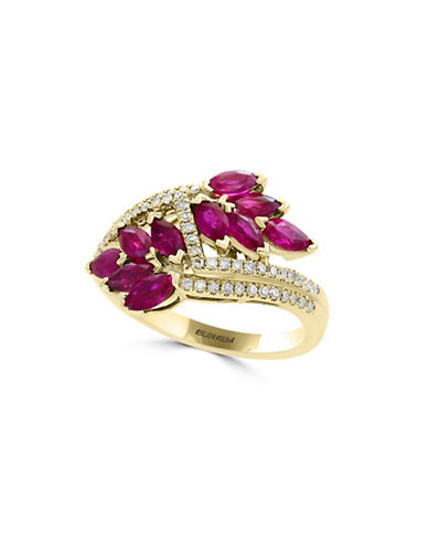 Effy 0.46TCW Diamonds, Ruby and  14K Yellow Gold Crossover Shank Ring-RUBY-7