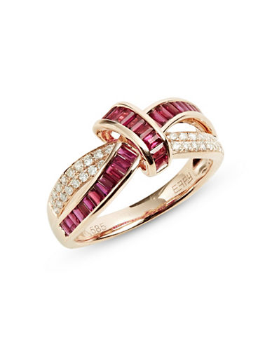 Effy 14K Rose Gold Ring with Ruby and 0.20 TCW Diamonds-RED-7