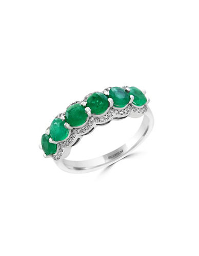 Effy 0.2 TCW Diamond, Natural Emerald and 14K White Gold Ring-EMERALD-7