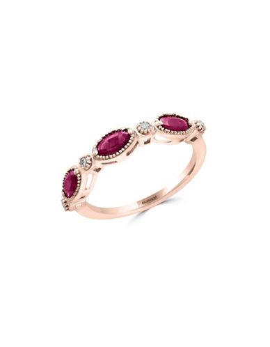 Effy Natural Ruby and 0.06 TCW Diamonds 14K Rose Gold Ring-RUBY-7
