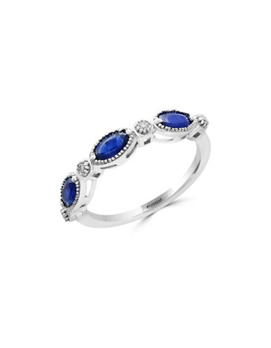 Effy Natural Sapphire, 0.06 TCW Diamond and 14K White Gold Ring-SAPPHIRE-7