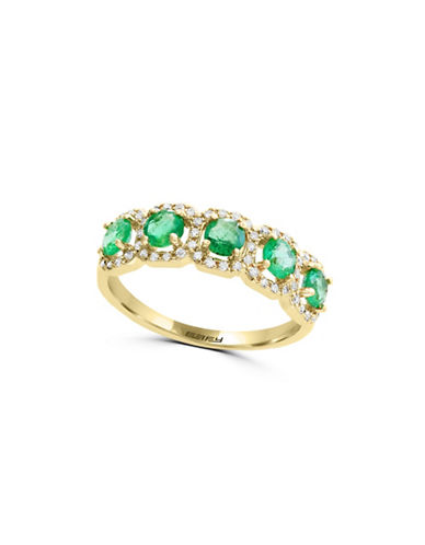 Effy 0.20 TCW Diamond, Emerald and 14K Yellow Gold Halo Ring-GREEN-7