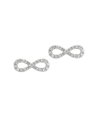 Effy 0.17 TCW Diamond and 14K White Gold Infinite Earrings-WHITE GOLD-One Size