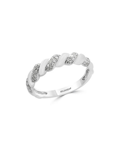 Effy 0.21 TCW Diamond and 14K White Gold Swirl Ring-WHITE GOLD-7