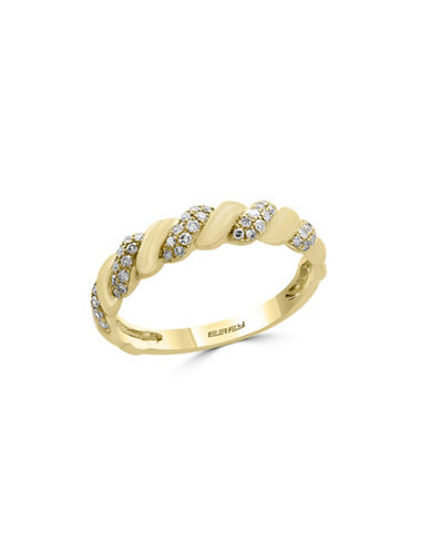Effy 0.21 TCW Diamond and 14K Yellow Gold Swirl Ring-GOLD-7