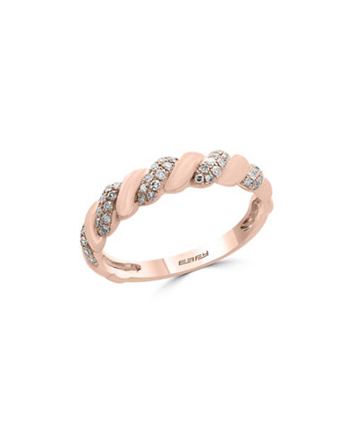 Effy 0.21 TCW Diamond and 14K Rose Gold Swirl Ring-ROSE GOLD-7