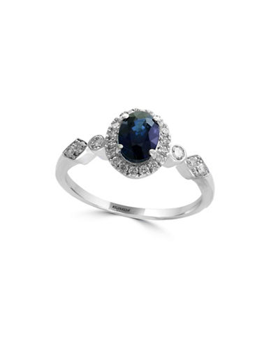 Effy 14K White Gold and Sapphire Halo Ring with 0.25 TCW Diamonds-BLUE-One Size