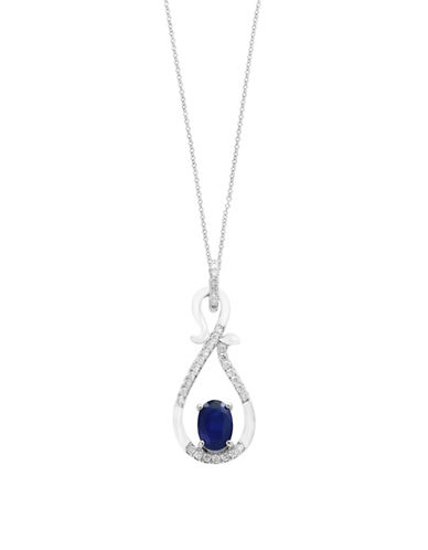 Effy Diamonds, Sapphire and 14K White Gold Pendant Necklace-SAPPHIRE-One Size