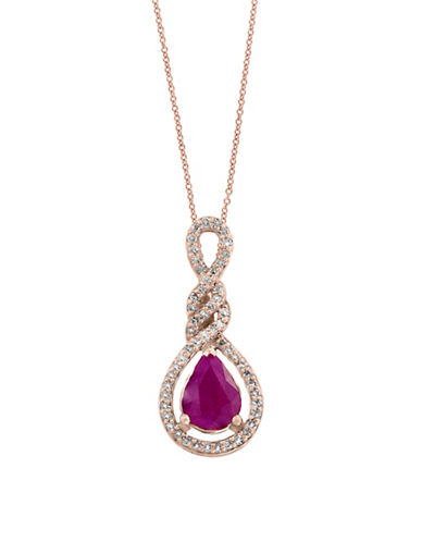 Effy Ruby and 0.21 TCW Diamonds 14K Rose Gold Pendant Necklace-RUBY-One Size