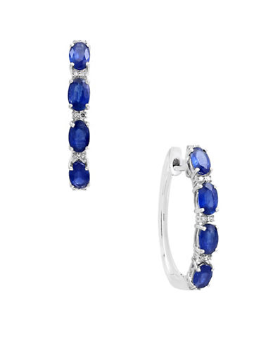 Effy 14K White Gold Sapphire and 0.07TCW Diamond Hoop Earrings-SAPPHIRE-One Size