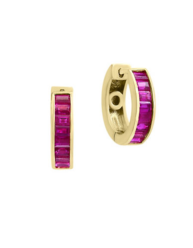 Effy Natural Ruby 14K Yellow Gold Hoop Earrings-RUBY-One Size