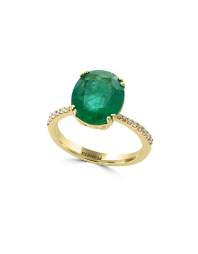 Effy 18K Yellow Gold and Emerald Ring with 0.14 TCW Diamonds-GREEN-7