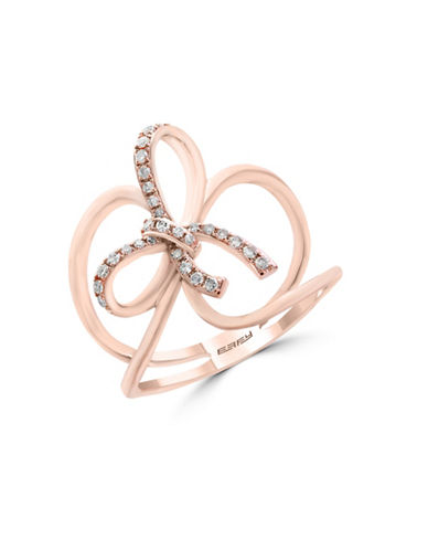 Effy 0.15 TCW Diamond and 14K Rose Gold Knot Ring-ROSE GOLD-7