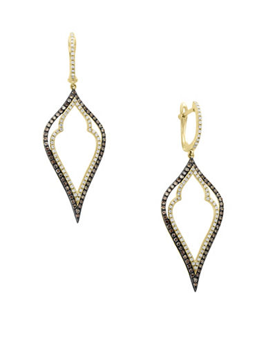Effy 14K Yellow Gold Earrings with 0.83TCW Diamond, Black Diamond, Espresso Diamond-BLACK-One Size