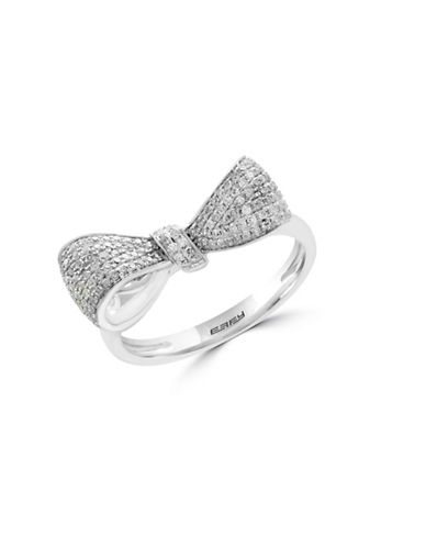 Effy 0.35 TCW Diamond and 14K White Gold Bow Ring-WHITE GOLD-7