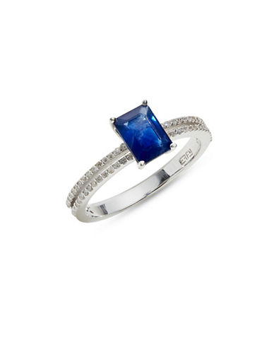 Effy 14K White Gold Ring with Sapphire and 0.18 TCW Diamonds-BLUE-One Size
